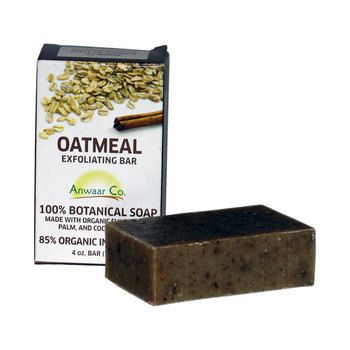 Anwaar Co. Oatmeal Exfoliating 100% Botanical Soap made with organic sunflower, palm, and coconut oils