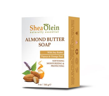 Organic almond butter soap with soy butter, papaya & orange peel